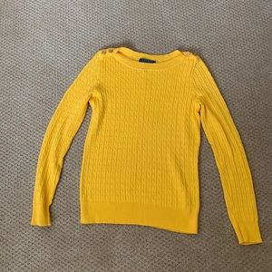 EUC yellow Ralph Lauren cable knit sweater